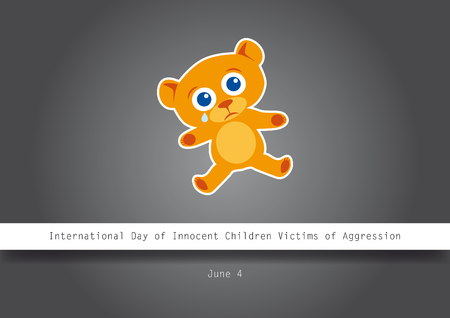 aggression: International Day of Innocent Children Victims of Aggression. Dark background with teddy bear. Illustration