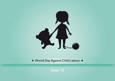 Werelddag tegen kinderarbeid. Kinderwerkers illustratie. Silhouet van een meisje met beer