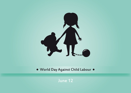 against: World Day Against Child Labour . Children worker illustration. Silhouette of a girl with bear Illustration
