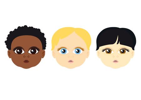 niños de diferentes razas: Los niños de diferentes razas. Un lindo conjunto de diferentes caras de los cabritos. La cara de niño sobre un fondo blanco