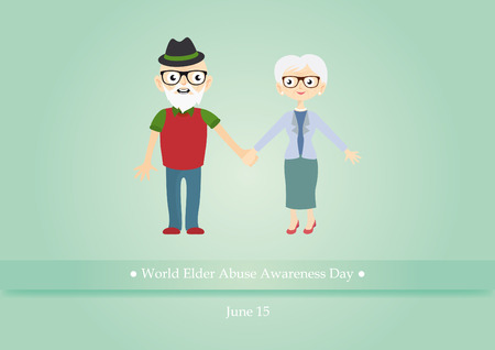 World Elder Abuse Awareness Day . illustration of abused seniors. illustration of elderly couple