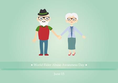 elder: World Elder Abuse Awareness Day . illustration of abused seniors. illustration of elderly couple