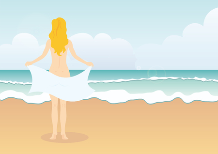 Woman on the Beach vector. Woman in a towel. Woman back. Illustration of beach with the sea. Holiday vector illustration