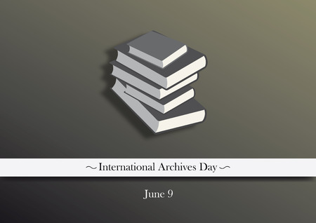 memoirs: International archives day vector. Dark background with a stack of books. Vector illustration. Important day