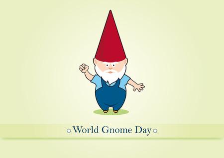 Wereld Gnome Day vector. Vector illustratie van een tuinkabouter. Angry tuinkabouter. belangrijke dag