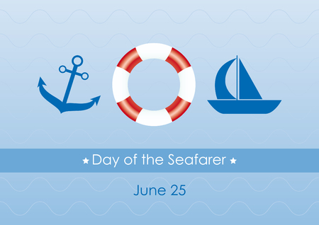 Day of the seafarer vector. Blue illustration with navy elements. Important day Ilustrace