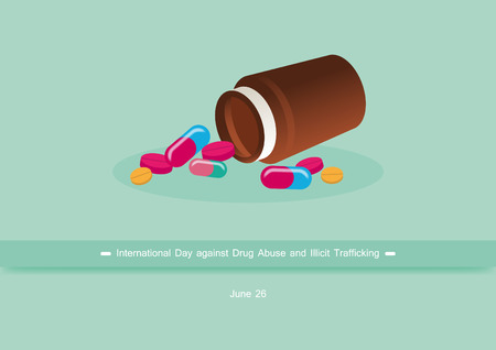 drug abuse: International Day against Drug Abuse and Illicit Trafficking vector. Vector illustration of the drugs. Important day Illustration