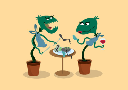dine: Carnivorous plant cartoon. Funny vector illustration