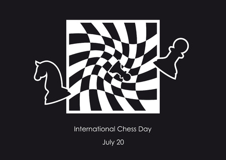 chessboard: International Chess Day vector. Chessboard abstract vector illustration. Black and white background. Important day Illustration