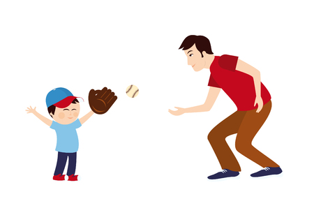father and child: Dad and son playing baseball. Cartoon characters of a father and son. Vector illustration of a boy and dad