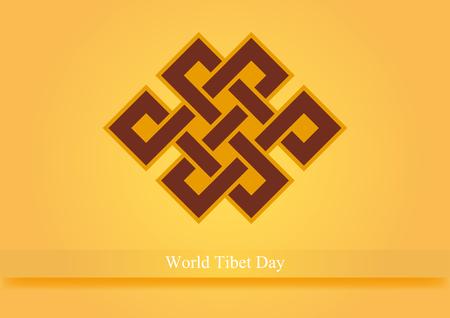tibet: World Tibet Day vector. Spiritual symbol of infinity. Vector illustration. Important day