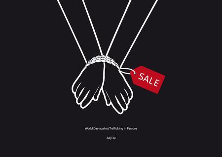 Día mundial contra la trata de personas del vector. ilustración vectorial blanco y negro. las manos atadas. Dia importante