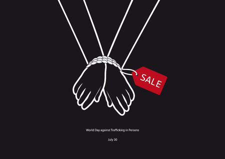 World Day against Trafficking in Persons vector. Black and white vector illustration. Tied hands. Important day Vettoriali