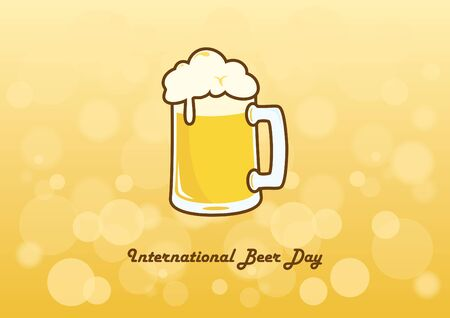international beer: International Beer Day vector. Vector illustration of a glass of beer. Important day Illustration