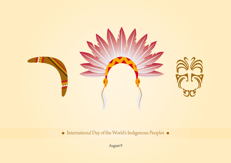indigenous: International Day of the Worlds Indigenous Peoples vector. Vector illustration symbols of indigenous people. Important day Illustration