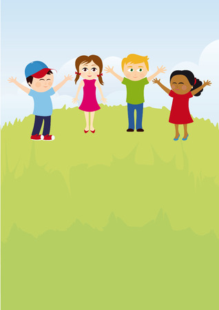 Happy kids on summer meadow. Vector illustration of a group of multicultural children Illustration