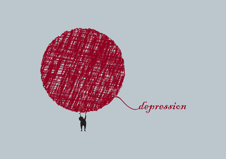 sadness: Depression vector illustration. Abstract illustration of sadness. Fight disease