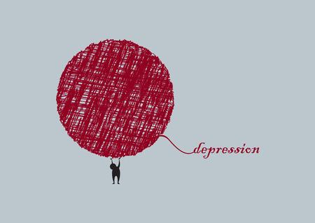 illness: Depression vector illustration. Abstract illustration of sadness. Fight disease