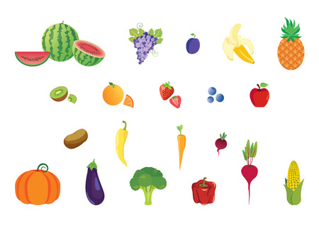 Icons set fruits and vegetables. Different types of fruit and vegetables. Vector illustration Illustration