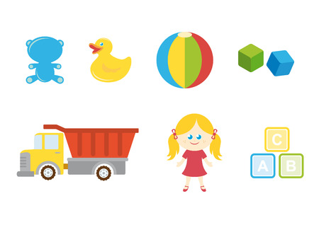 Set of different childrens toys on a white background.