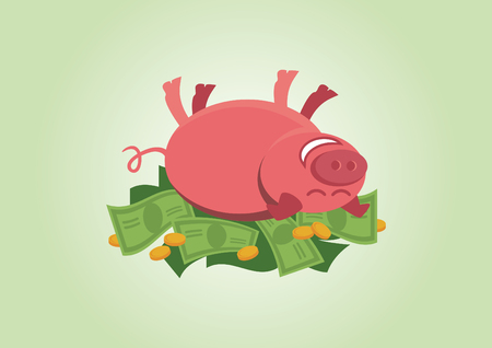 Cheerful piggy lying in money.