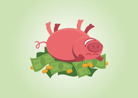 lying in: Cheerful piggy lying in money.