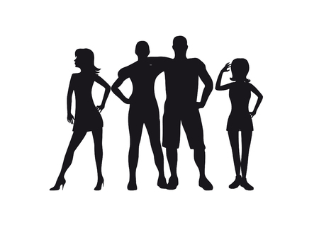 black people: People black silhouette. A group of young people