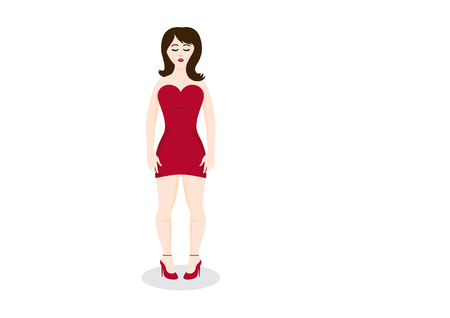 embarrassment: Shy woman in a red dress. Girl in high heels.