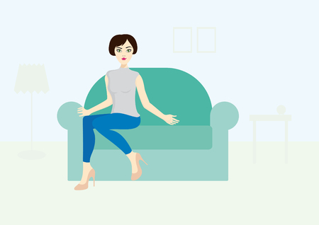 Woman sitting on the couch illustration of a beautiful young woman. Girl invites you to sit on the couch Vectores