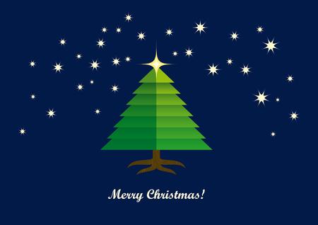 christmas tree illustration: Christmas card illustration Christmas tree. Abstract green tree Illustration