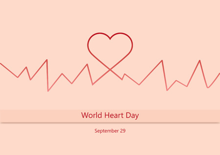 World Heart Day illustration heartbeat. Important day