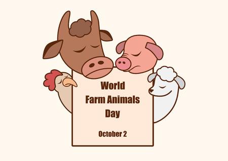 animal abuse: World Farm Animals Day. Cartoon characters farm animals. Important day