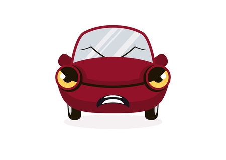 Cartoon angry car. Vector illustration of a red car