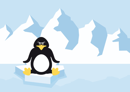 Cartoon penguin on a ice floe. Cartoon Character penguin. Vector illustration of an angry penguin