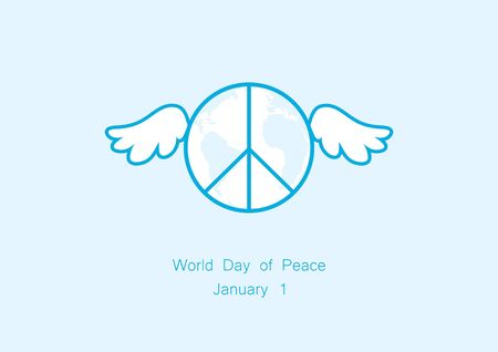World Day of Peace vector. Vector illustration planet with wings. Important day