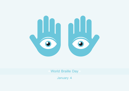 braille: World Braille Day vector. Vector illustration of palm. Important day
