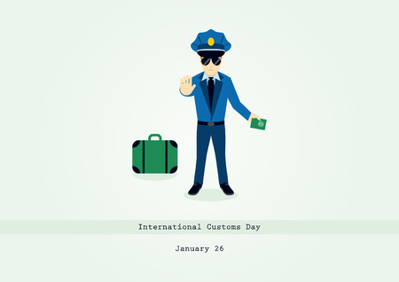 International Customs Day vector. Cartoon character of a customs officer. Important day Çizim