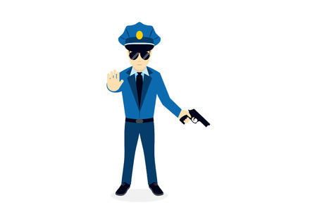 Cartoon character cop with a gun. Vector illustration of a policeman. Police officer on a white background Illustration