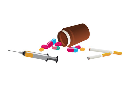 Drugs vector image. Vector illustration of narcotic and tobacco. Set of drugs on white background Illustration