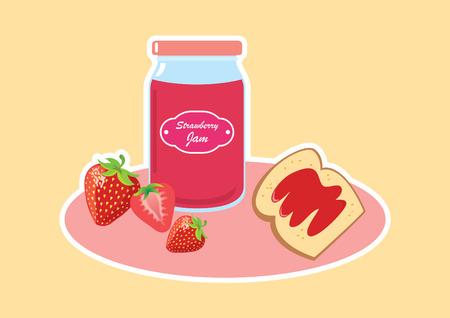 marmalade: Strawberry jam vector illustration. Breakfast still life with strawberry jam