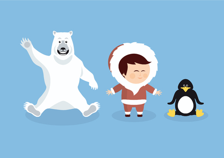 Cartoon polar animals and people. Cartoon character Eskimo, polar bear and penguin