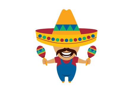 man: Mexican man cartoon character. Mexican vector. Mexican musician vector illustration