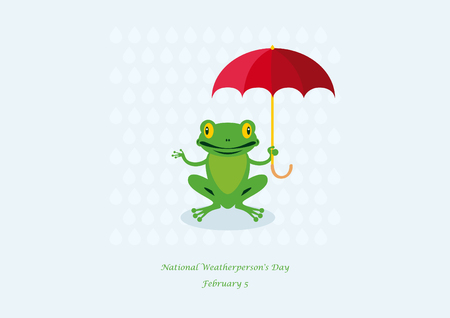 treefrog: National Weatherpersons Day vector. Frog with umbrella cartoon character. Important day