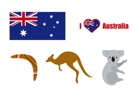 Australia icon vector. Collection of Australian elements. Australia icon set on white background Illustration