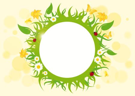 Spring frame vector. Spring floral border. Spring vector illustration