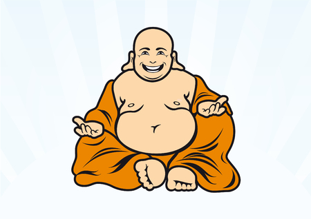 Gelukkige Boeddha vector. Boeddha cartoon karakter. Illustratie van zittende Boeddha