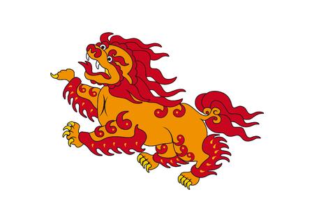 Asian dragon vector. Tibetan red dragon. Mythical dragon on a white background