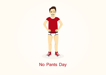 No Pants Day vector. Funny holiday. Man in underpants. Important day