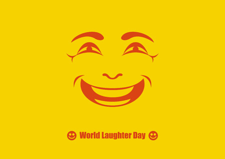 World Laughter Day vector. Funny holiday. Smiling face on yellow background. Important day Ilustrace