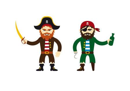costume eye patch: Pirate cartoon character. Pirate vector on a white background Illustration